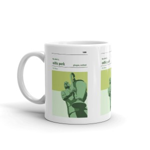 A coffee mug of Jock Stein and the European Cup outside Celtic Park. Celtic FC