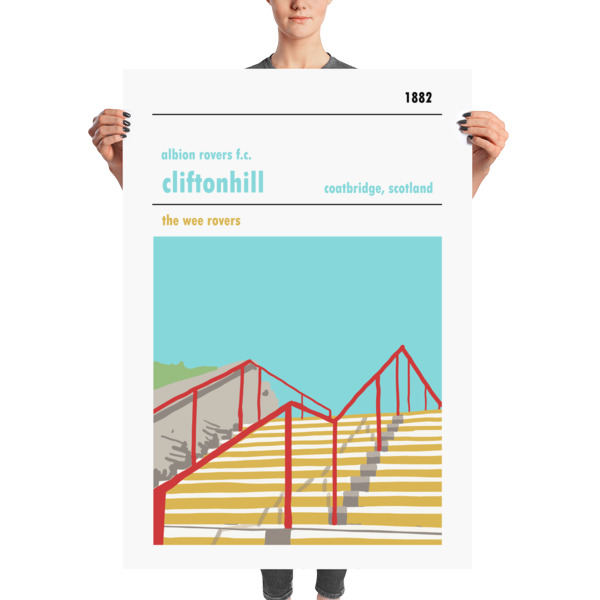 A stadium print poster of Albion Rovers FC and their home ground of Cliftonhill. The Wee Rovers. Massive