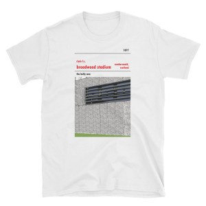 A white t-shirt of Broadwood Stadium and Clyde FC