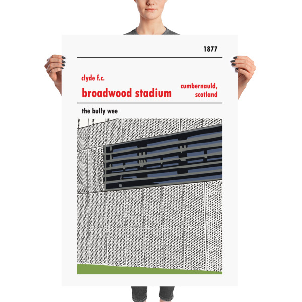 A massive football poster of Clyde FC and Broadwood Stadium