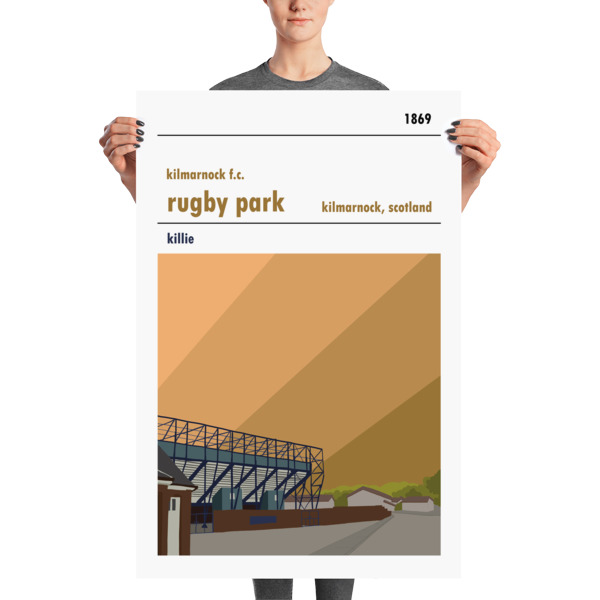 A huge football poster of Rugby Park and Kilmarnock FC