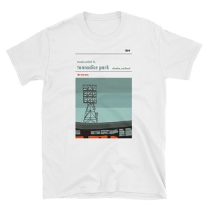 A white t-shirt of Jerry Kerr stand and Dundee united FC