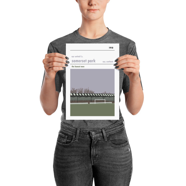 A small football poster of Somerset Park, home of Ayr United FC