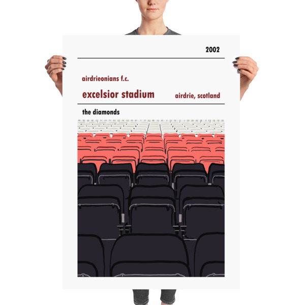 A stadium print poster of Airdrieonians FC and their home ground (stands) of Excelsior Stadium. The Diamonds. Massive
