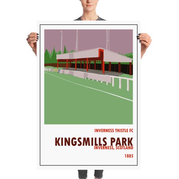 A huge stadium poster of Kingsmills Park, home to Inverness FC.