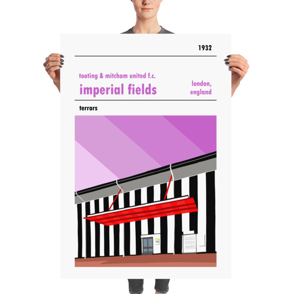 Massive football poster of Tooting and Mitcham United FC and Imperial Fields