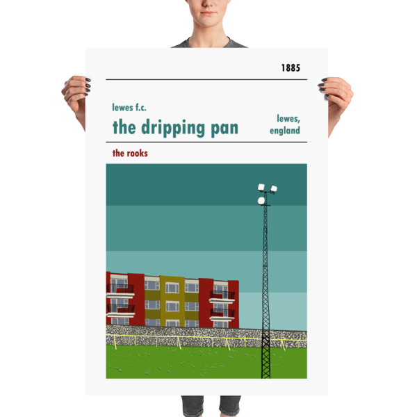A huge football poster of Lewes FC and the dripping pan