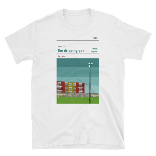 A football t shirt of Lewes FC and the Dripping Pan