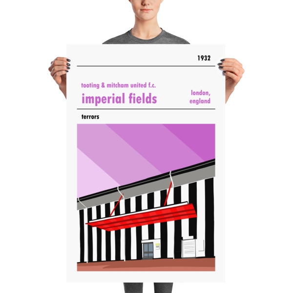 Huge football poster of Tooting and Mitcham United FC and Imperial Fields
