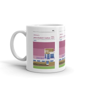 A coffee cup of QEII stadium, home to Enfield Town FC