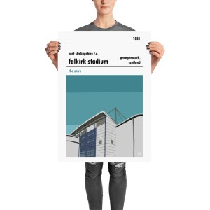 A retro football poster of East Stirlingshire FC and Falkirk Stadium