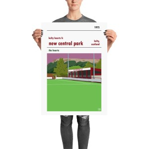 A retro football poster of New Central Park and Kelty Hearts FC