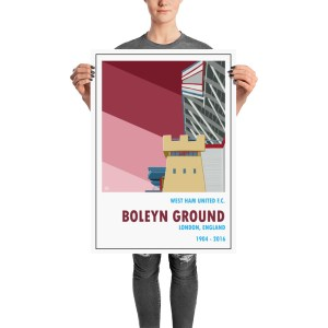 Vintage stadium poster of West Ham and Boleyn Ground, London