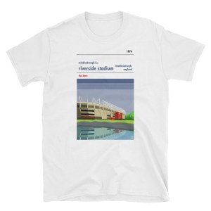 A white t shirt of Middlesbrough FC and the Riverside