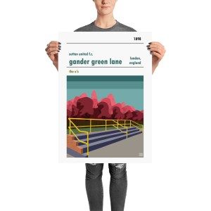 A football stadium poster of Gander Green Lanes and Sutton United FC. The Shoe Box.