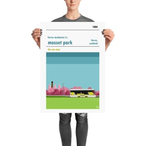 A retro stadium poster of Mosset Park and Forres Mechanics FC, the Can Cans