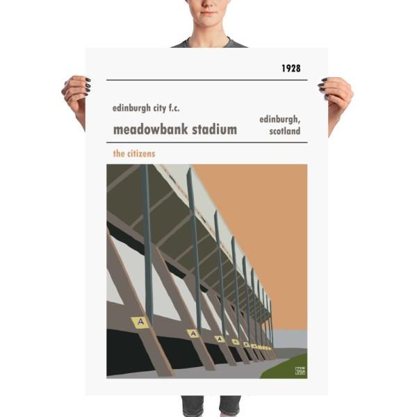 A huge retro stadium poster of Meadowbank Stadium
