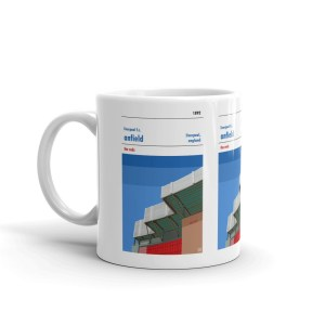 A coffee mug of Liverpool FC and Anfield