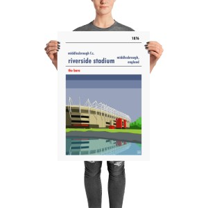 A retro stadium poster of the Riverside and Middlesbrough FC