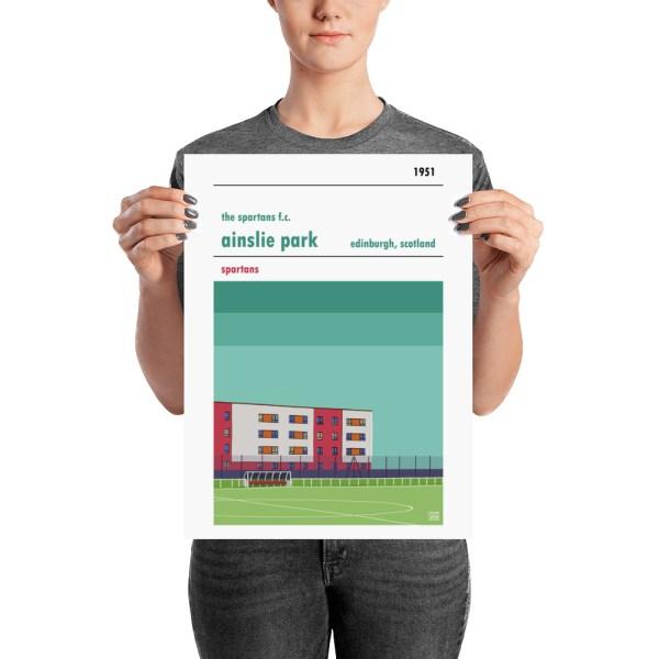 A medium sized football poster of Ainslie Park, home of The Spartans FC, Edinburgh
