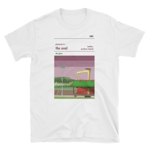 A white t shirt of the Oval and Glentoran