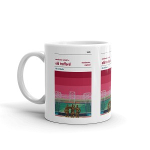 A coffee mug of Old Trafford and Manchester Utd FC