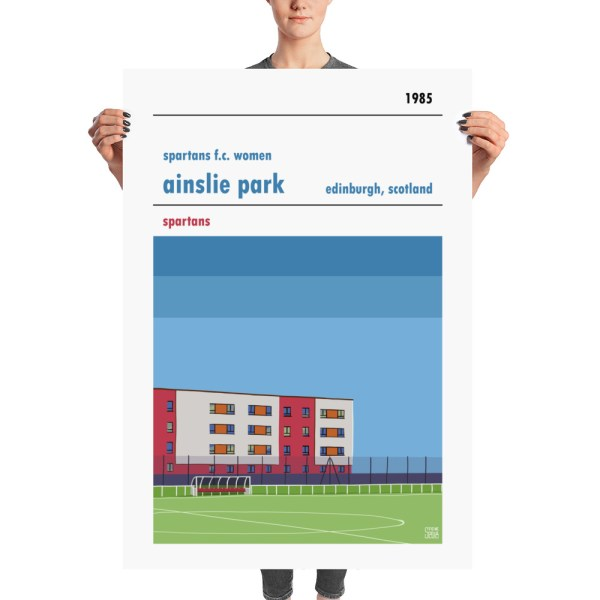 A huge stadium poster of Spartans f.c. women's and Ainslie Park