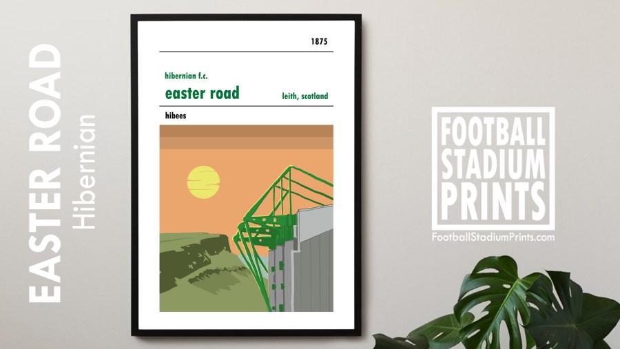 A football print of Easter Road, home to Edinburgh's Hibernian FC
