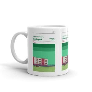 A coffee mug of Ainslie PArk, home to Hibs Girls & ladies FC