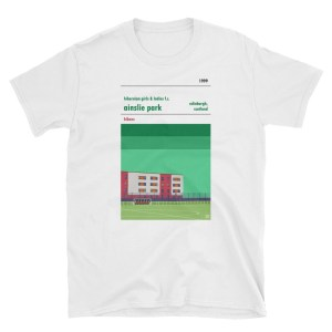 A white t shirt of Ainslie Park, home to Hibs Ladies FC