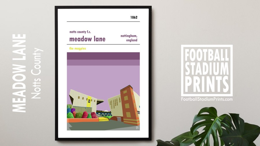 A framed print of Meadow Lane hanging on a wall