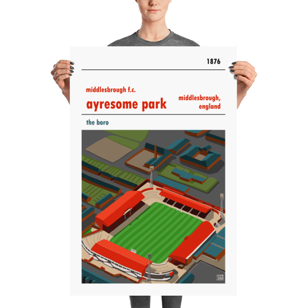 A large football poster of Ayresome Park and Middlesbrough FC