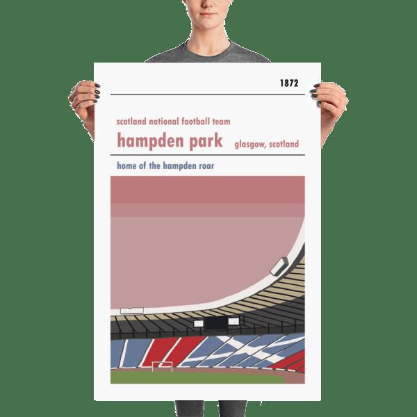 A large football poster of Hampden Park, Glasgow