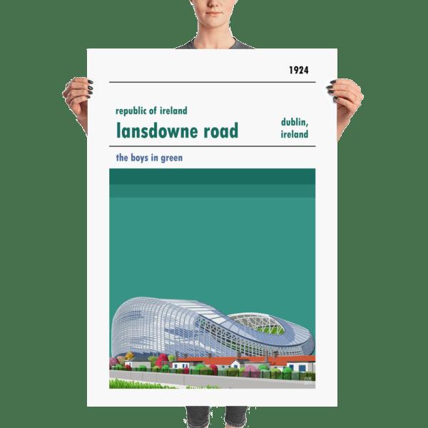 A huge poster of Lansdowne Road