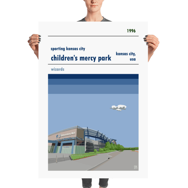 A huge soccer poster of Children's Mercy Park, home to Sporting Kansas City
