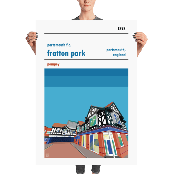 A huge football poster of Fratton Park, home to Portsmouth FC