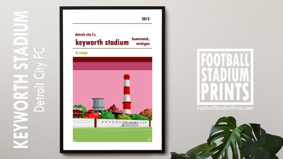 A framed football poster of Keyworth Stadium, home ground of Detroit City FC.