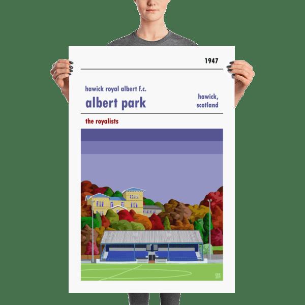 A large Albert Park, home to Hawick Royal Albert FC, football print. The Royals