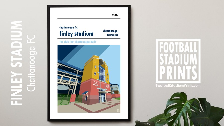 A football poster of Finley Stadium, home to Chattanooga FC