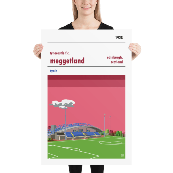 A large stadium poster of Meggetland, home to tynecastle FC