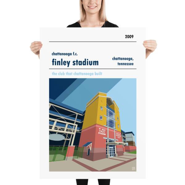 A huge football poster of Finley Stadium, home to Chattanooga FC.