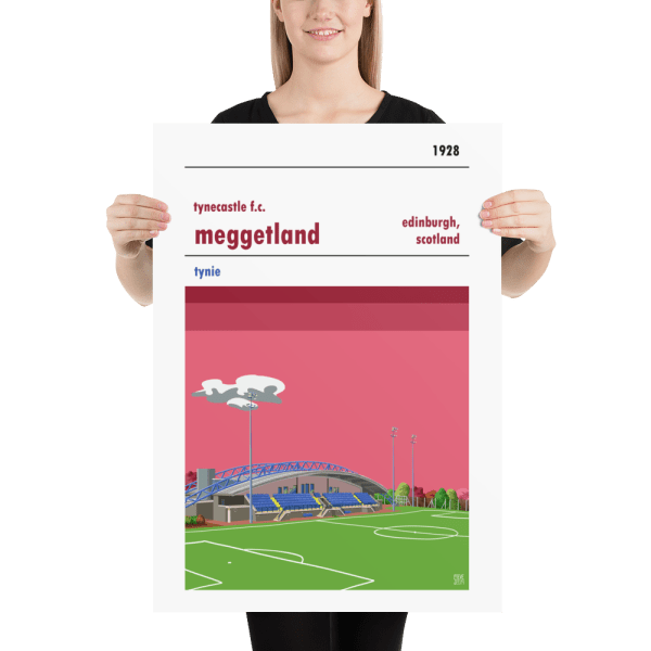 A retro style football poster of Tynecastle FC and MEggetland