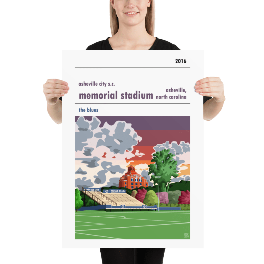 A college soccer poster of Memorial Stadium, home to Asheville City SC