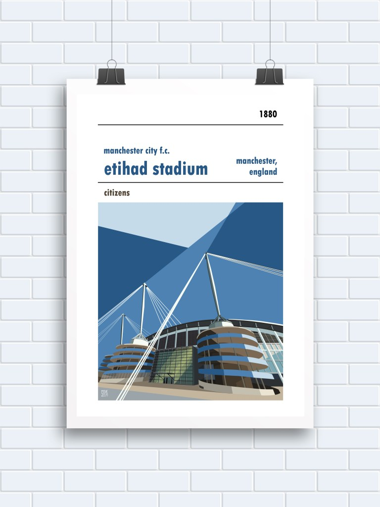 A retro football poster of The Etihad, home to Manchester City FC