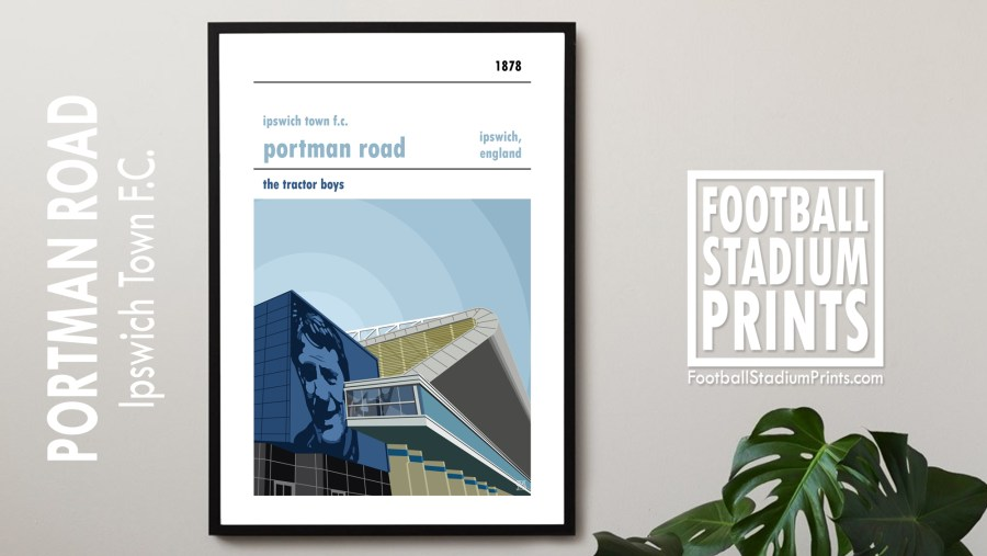 A retro football poster of Ipswich Town Fc and thei home ground of Portman Road. Featuring Bobby Robson