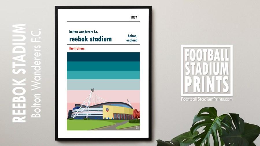 A football stadium poster of the Reebok Stadium