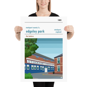 Large football poster of Stockport County FC and Edgeley Park