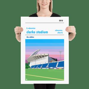 Large football poster of FC Edmonton and Clarke Stadium