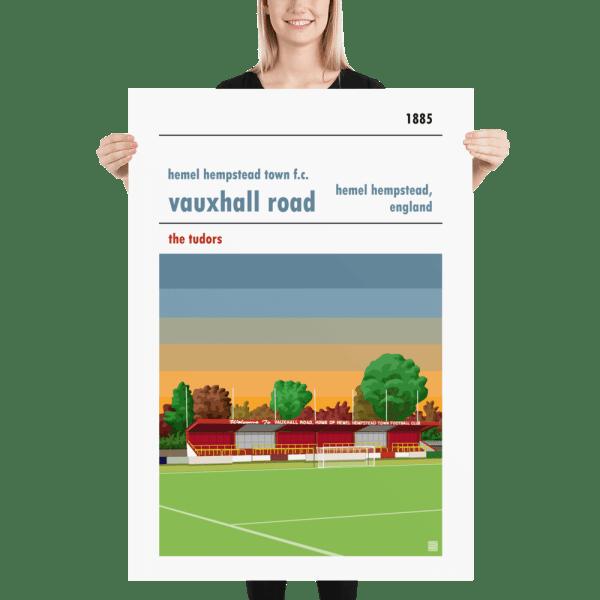 Massive football poster of Hemel Hempstead FC and Vauxhall Road