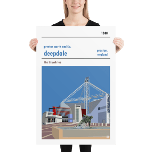 Huge football poster of Preston North End FC and Deepdale
